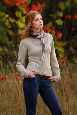 Crochet Trim Hoodie Top in Blue Sky Fibers Alpaca Silk - Downloadable PDF