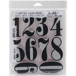 "Stampers Anonymous Tim Holtz Cling Stamps 7""X8.5"" - Numeric"