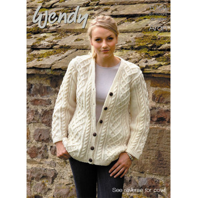 Cable Cardigan in Wendy Traditional Aran - 5704