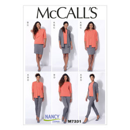 McCall's Misses' Cardigan, T-Shirt, Pencil Skirt and Leggings M7331 - Sewing Pattern