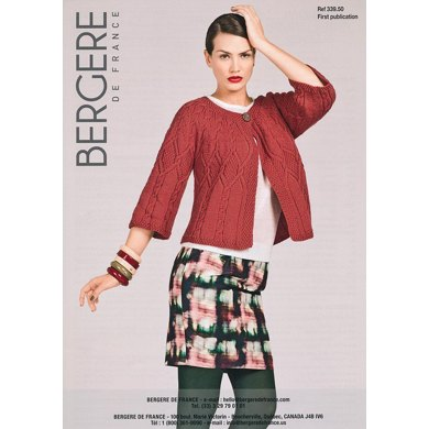 Cardigan with 3/4 Length Sleeves in Bergere de France Pur Merinos Francais - 33950