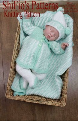 Knitting Pattern Baby Set & Blanket/Afghan UK & USA Terms  #216