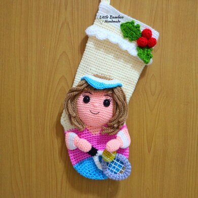 Tennis Player Christmas Stocking