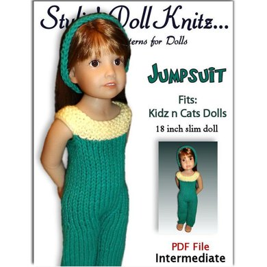 Pant Jumpsuit Knitting Pattern fits Kidz n Cats Dolls.