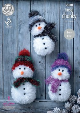 Christmas Snowman in King Cole Tinsel Chunky - 9030 - Leaflet