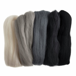 Trimits Natural Wool Roving: 50g: Assorted Monochrome