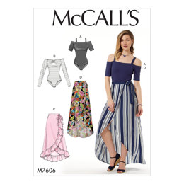McCall's Misses' Off-the-Shoulder Bodysuits and Wrap Skirts with Side Tie M7606 - Sewing Pattern