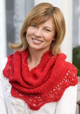 Shimmer Cowl in Red Heart Shimmer Solids - LW2286