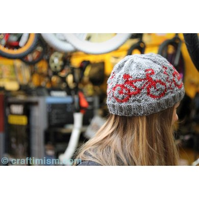 Bicycle Patterned Knit Hat