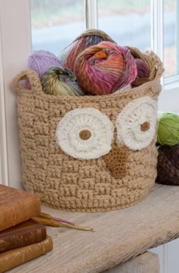 It's a Hoot Owl Container in Red Heart Super Saver Economy Solids - LW4085