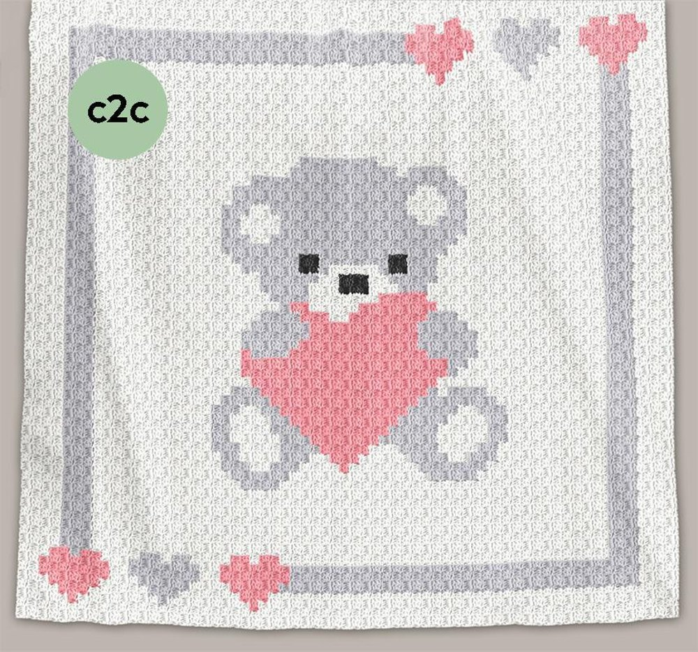 Crochet C2c Baby Blanket Sweet Heart Crochet Pattern By