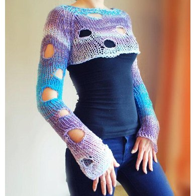 Knitting Pattern Holey Jumper : Adult Holey Bolero Jumper Knitting pattern by TheMailoDesign Knitting Patte...