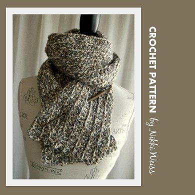 Crochet Pattern For Scarf With Homespun Yarn : Homespun Scarf with Shawl Stick Crochet Pattern Crochet ...