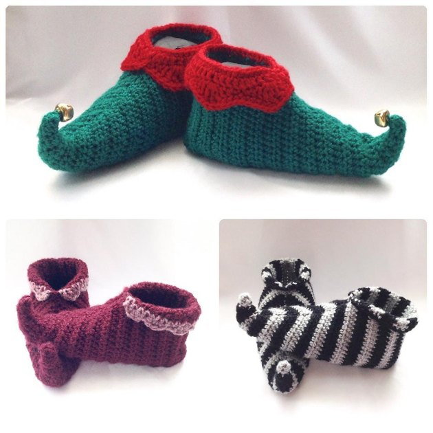 Knitting Pattern For Baby Elf Shoes : Curly Toes Elf Slipper Shoes Crochet pattern by Hooked on Patterns