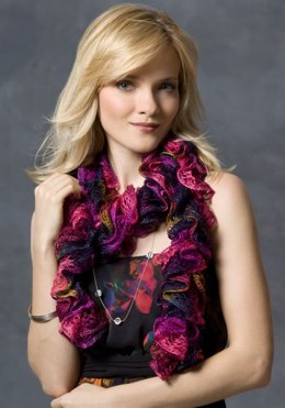 Nanette Ruffle Scarf in Red Heart Soft Solids - LW2745