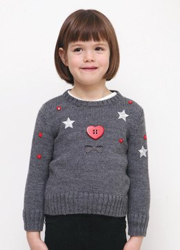Girls Round Neck Sweater in Bergere de France Ideal - 60508-453 - Downloadable PDF