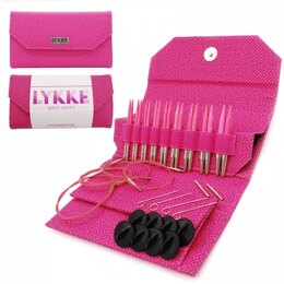 "Lykke Blush 3.5"" Interchangeable Set Magenta Basketweave Interchangeable Tips Needle (9 Pairs)"