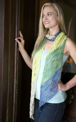 Striped Diagonal Scarf in Plymouth Yarn Nettle Grove - F702 - Downloadable PDF