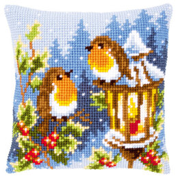 Vervaco Robins at the Lantern Cushion Front Chunky Cross Stitch Kit - 40cm x 40cm
