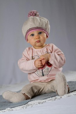 Molly May Beret and Shoes - Bc26 Baby Cakes by Little Cupcakes