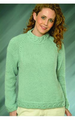 Top Down Ladies Pullover in Plymouth Baby Alpaca Grande - F-IN83