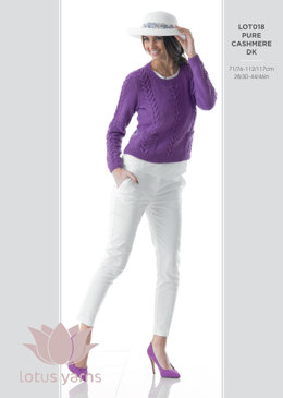 Sweater With Cable and Pocket Detail in Lotus Pure Cashmere DK - LOT018 - Leaflet