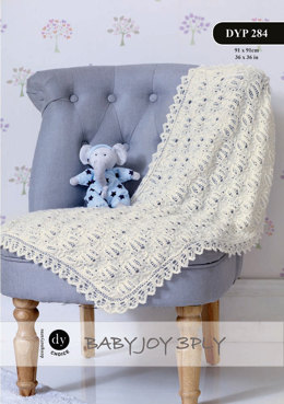 Lace Edge Throw in DY Choice Baby Joy 3 ply - Downloadable PDF