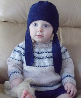 Baby fair isle sweater and hat - P054