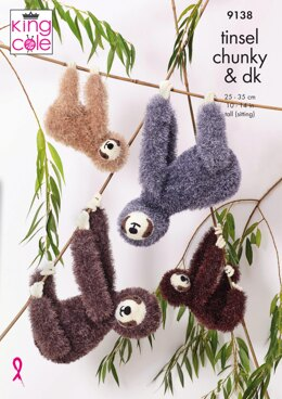 Sloths in King Cole Tinsel Chunky & Big Value Baby DK - 9138 - Downloadable PDF
