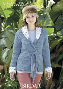 Shawl-Collared Jacket with Belt in Sirdar Big Softie - 7162