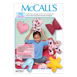 McCall's Star Heart Bow and Alphabet Pillows M7551 - Paper Pattern Size One Size Only