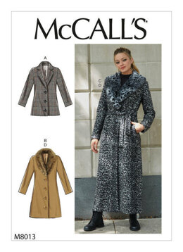 McCall's Misses' Outerwear, Detachable Fur Collar & Belt M8013 - Sewing Pattern