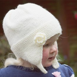 Charlotte -  Earflap Hat with Rose Flower