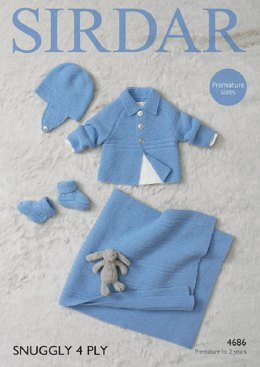 Blanket, Bootees, Helmet and Jacket in Sirdar Snuggly 4Ply - 4686- Downloadable PDF