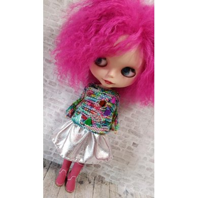 """Super Simple Square sweater for 12"""" Blythe doll"""