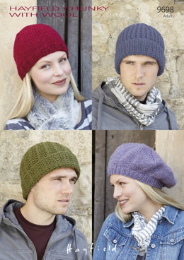 Hats and a Beret in Hayfield Chunky with Wool - 9698