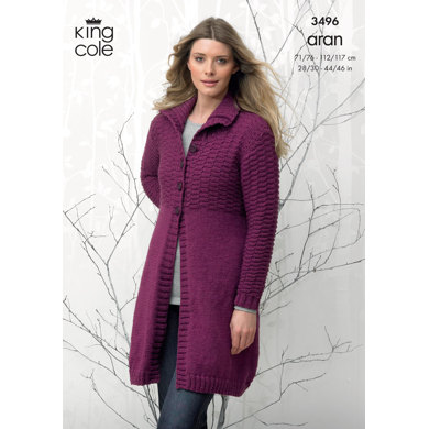 Coat and Hooded Cardigan in King Cole Aran - 3496