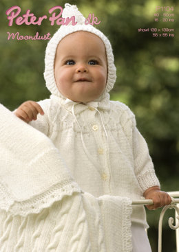 Matinee Coat, Hood & Cable Blanket in Peter Pan Moondust DK - 1104