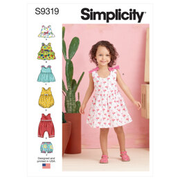 Simplicity Toddlers' Criss-Cross Top, Dresses, Rompers and Panties S9319 - Sewing Pattern