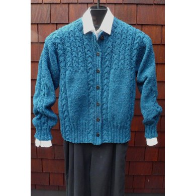 MS 206 Cabled Yoke Crew Cardigan