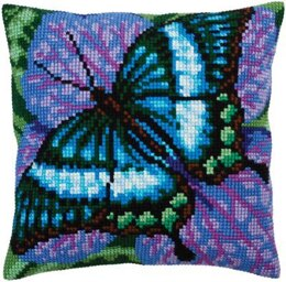Collection D'Art Volatic Turquoise Butterfly I Cross Stitch Cushion Kit
