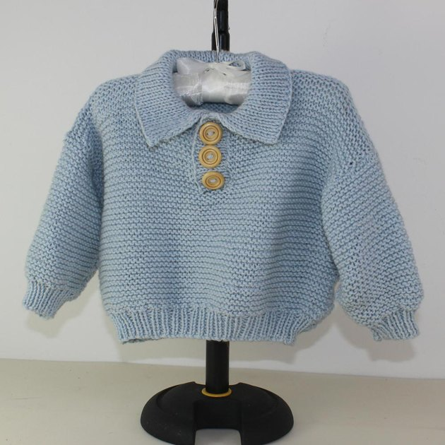 Knitting Pattern Sweater With Collar : Baby Garter Stitch Collar Sweater Knitting pattern by madmonkeyknits