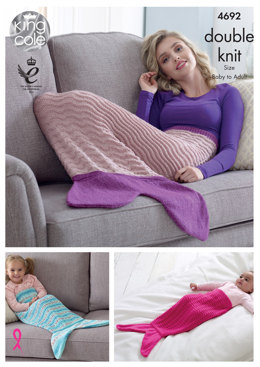 Mermaid Blankets in King Cole Comfort Baby DK, Drifter For Baby & Glitz DK - 4692 - Leaflet