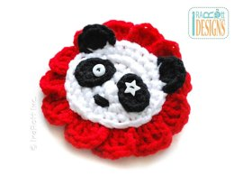 Panda Bear Flower Applique - Crochet PDF Pattern