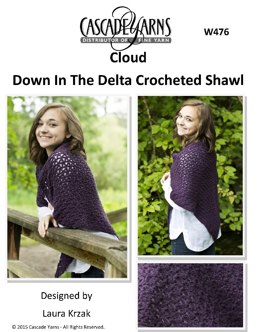 Down In The Delta Crocheted Shawl in Cascade Cloud - W476