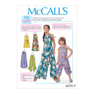 McCall's Children's and Girl's Romper, Jumpsuit and Belt M7917 - Sewing Pattern
