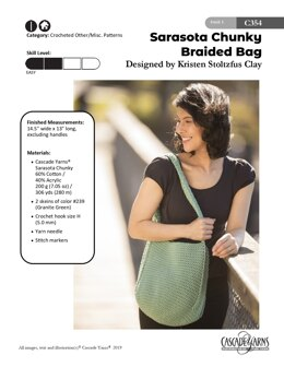 Braided Bag in Cascade Yarns Sarasota Chunky - C354 - Downloadable PDF