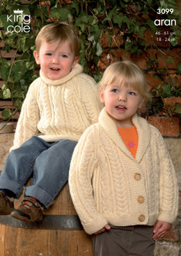 Sweater, Jacket and Accessories Knitted in King Cole Fashion Aran - 3099