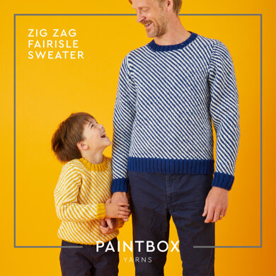 """ Zig Zag Fairisle Sweater "" - Free Sweater Knitting Pattern For Boys and Men in Paintbox Yarns Wool Mix Aran by Paintbox Yarns"