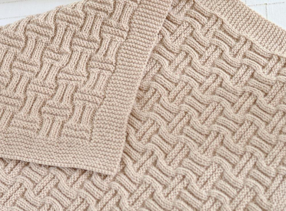 Basket Weave Pattern Knitting Afghan : Double basketweave blanket knitting pattern by caroline